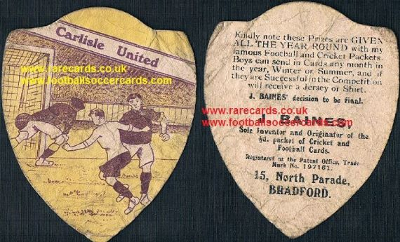 1900s Carlisle United football card Baines of Bradford